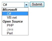 Select tag optgroups